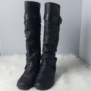 Pikolinos Brujas Black Leather Slouch Tall Boots